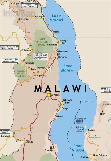 mozambique malawi map road map with gps coordinates