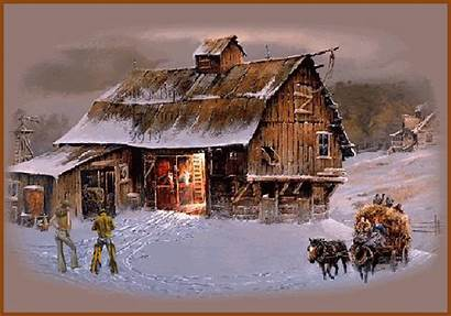 Winter Scenes Country Homestead Barn Scene Christmas