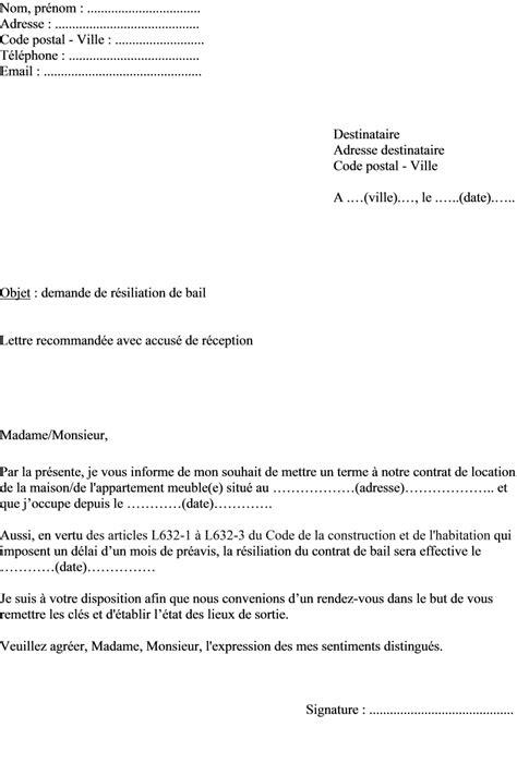 bail bureaux mod e lettre de resiliation bail meuble kirafes