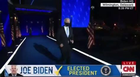 joe biden running  ramp   victory speech