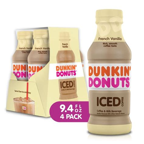 Available in a bottle in 4 delicious flavors. Dunkin' Donuts French Vanilla Iced Coffee Bottles, 9.4 fl ...
