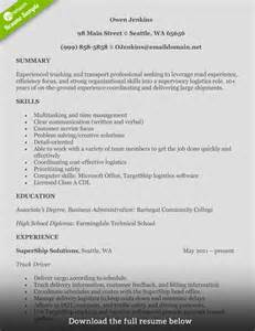 class 1 driver resume how to write a truck driver resume with exles