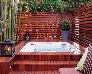 hot tub small backyard with privacy screen home interior With whirlpool garten mit bonsai starter