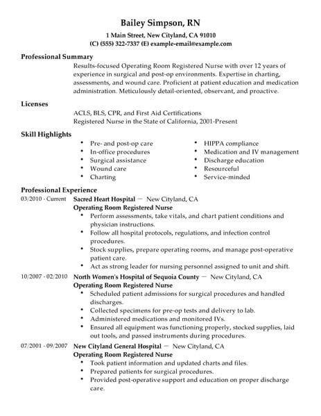 resume template for operating rom nurses best operating room registered nurse resume exle livecareer