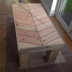 DIY Chevron Pallet Bench and Coffee Table Pallet