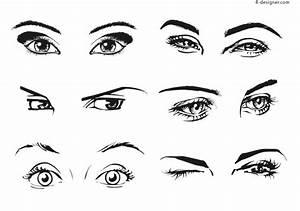 4-Designer   6 kinds of female eyes vector materials