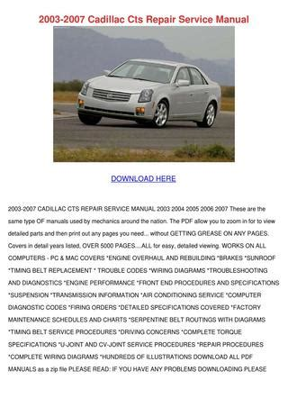 car repair manuals online pdf 2007 cadillac cts 2003 2007 cadillac cts repair service manual by marilou heap issuu