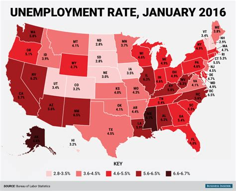 the bureau of labor statistics state unemployment map january 2016 business insider