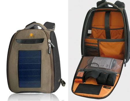 o range travel bag with integrated new panel solar green design