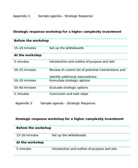 workshop agenda template   word  documents
