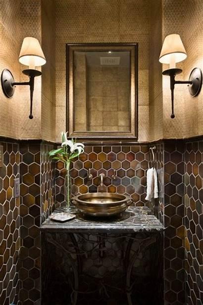 Bathroom Powder Wall Tiles Dark Brown Bath