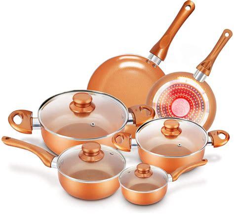 cookware set nonstick pots  pans set copper pan kutime pcs cookware set  stick frying
