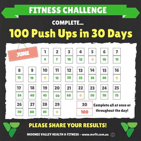 To 100 Push Ups by Fitness Challenge June 100 Push Ups In 30 Days