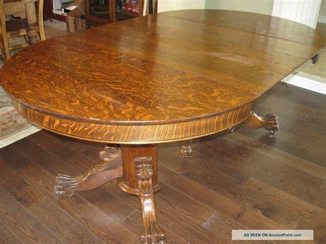 Dining Table: Tiger Oak Pedestal Dining Table
