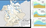 Map showing the German stretches of the international ...
