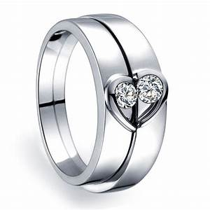 Unique heart shape couples matching wedding band rings on for Engagement rings with matching wedding bands