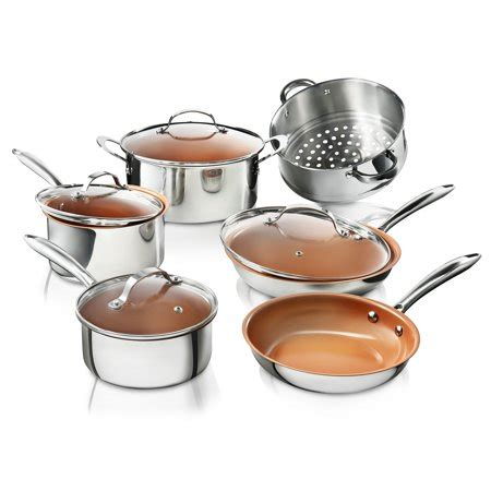 gotham steel premium tri ply stainless steel  piece complete kitchen set  nonstick copper