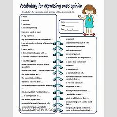 Vocabulary For Expressing One's Opinion Worksheet  Free Esl Printable Worksheets Made By