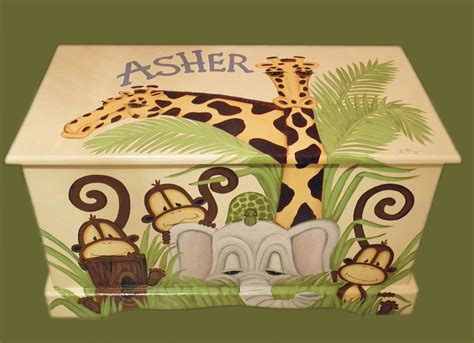 jungle toy chest custom designed   soft yellow background