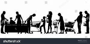 Editable Vector Silhouettes People Supermarket Checkout ...