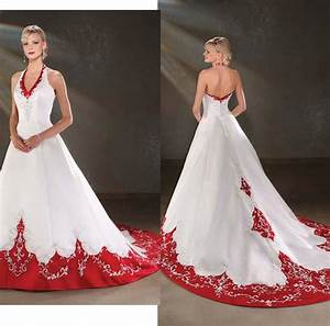 Elegant Embroidery Colorful White Red Wedding Dresses 2015 ...