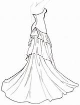 Coloring Drawing Pages Dresses Gown Ball Flowing Templates Barbie Clothes Drawings Sketches Winter Adults Books Dressses Adult sketch template