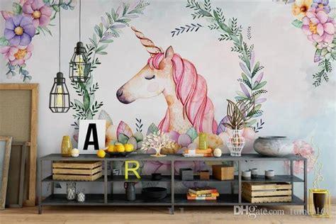 custom mural  wallpaper hand draw  leaves unicorn