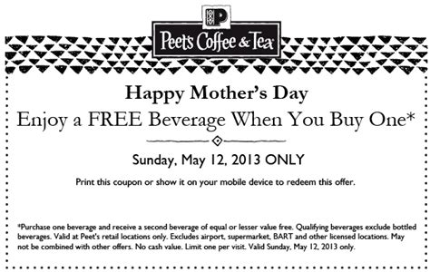 The original craft coffee.™ since 1966. Buy One, Get One Free at Peet's Coffee on Mother's Day (Cowtown Eats)