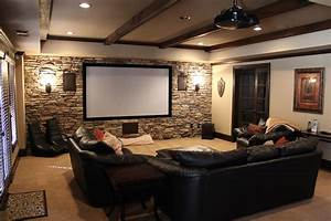 Small Media Room Ideas With Chic Screen In Brick Wall