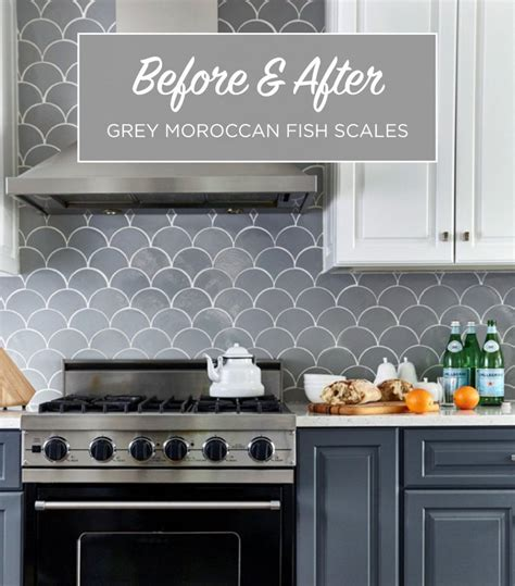 grey moroccan fish scale backsplash