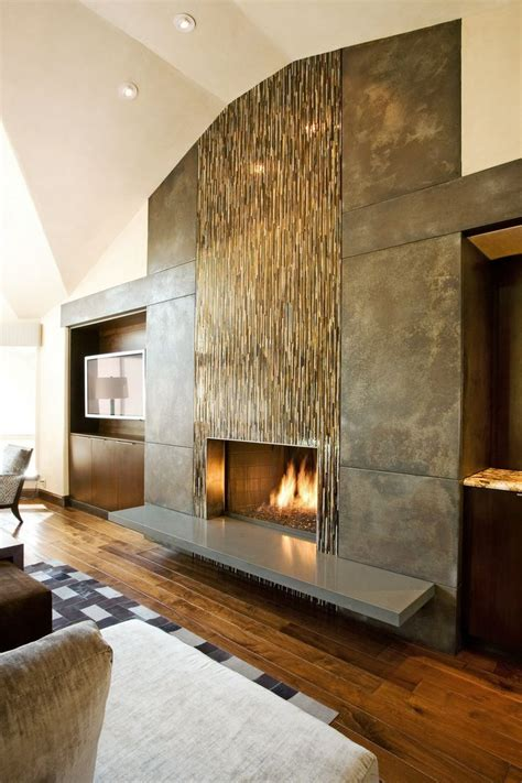 wall tile fireplace fireplace wall flush wall with glass tile and metal panels with special patina floating hearth