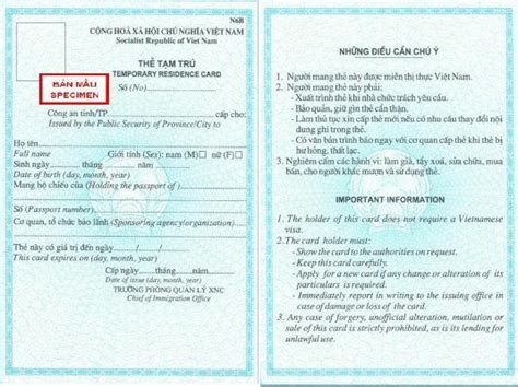 Vietnamese Temporary Residence Card For Foreigners Living
