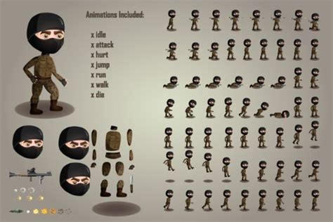 terrorists character free sprites sheets