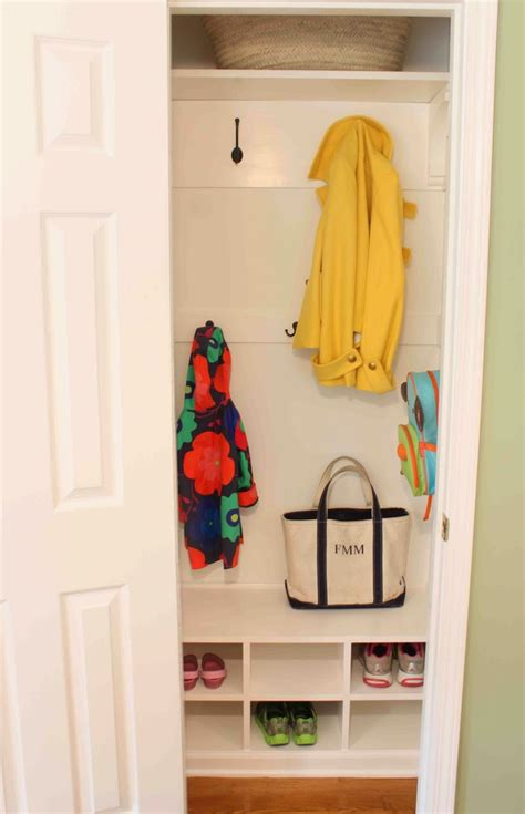Small Hallway Closet Organization Ideas by Green From Hanging Closet To Itsy Bitsy Mudroom