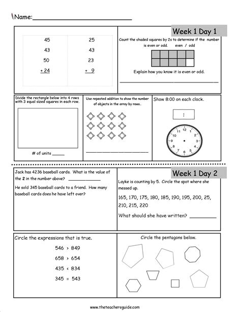 free rd grade morning work third language and math 6