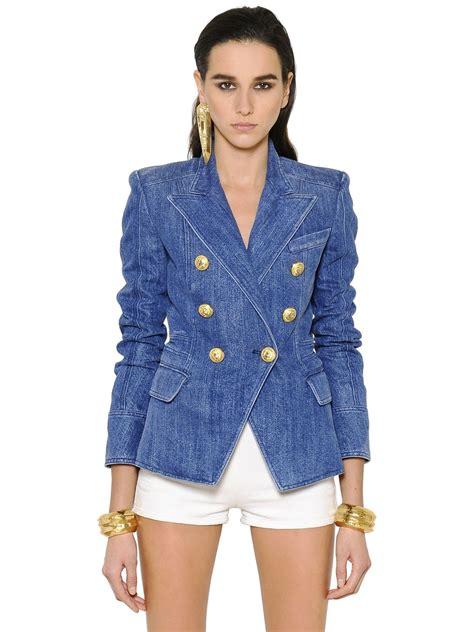 Balmain shirt online balmain double breasted denim jacket blue women clothing balmain denim ...