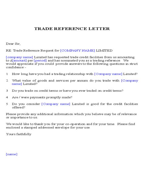 trade reference template 5 free templates in pdf word