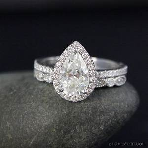 Forever brilliant white gold vintage pear cut moissanite for Wedding bands for pear shaped rings