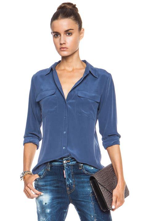 equipment slim signature blouse equipment slim signature silk blouse in blue crown blue