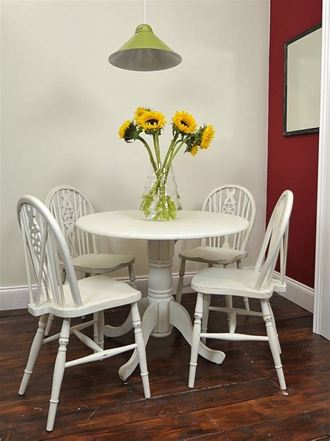 small  table chair set painted   white