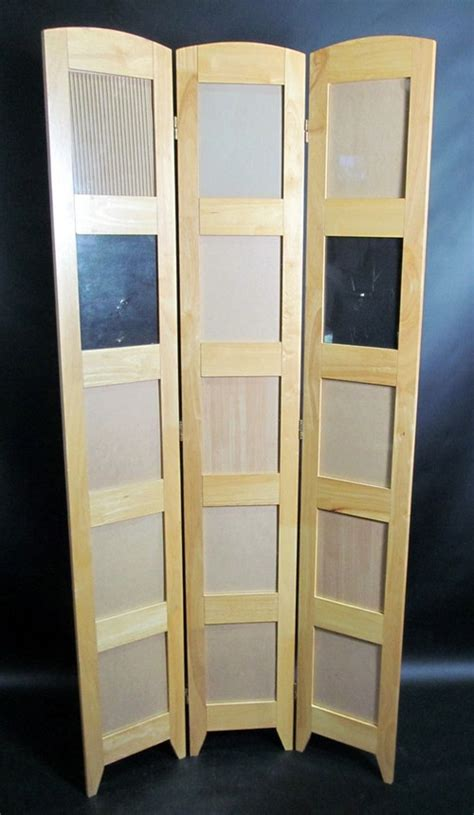 3 Panel Wood Room Divider Privacy Curtain W Photo Picture