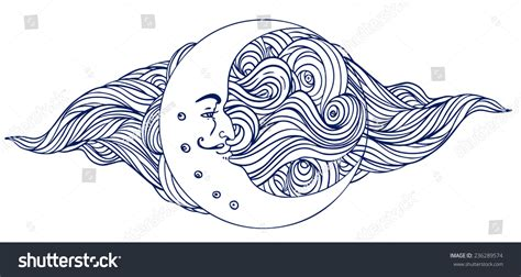 Crescent Moon Human Face Over Ornate Stock Vector