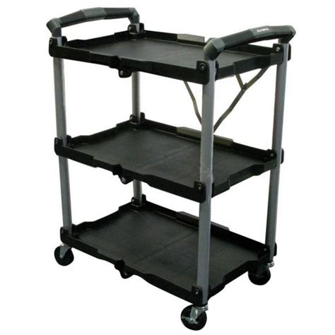 folding utility cart rolling on wheels storage 3 shelf