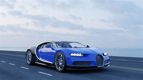 The model includes modelled tires. Bugatti Chiron 3D model rigged roadway | CGTrader