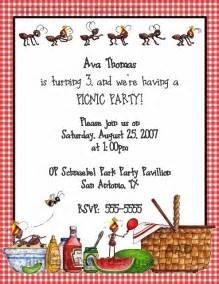 Picnic Party Invitation Clip Art