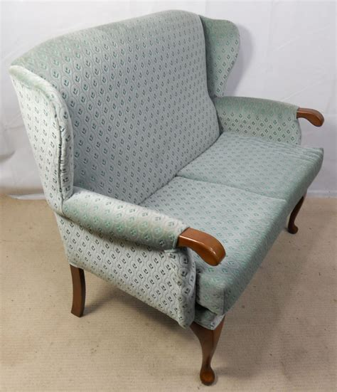 Small 2 Seater Settees by Sold Upholstered Two Seater Wingback Fireside Sofa Settee