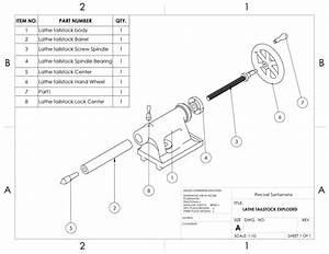 Lathe Machine Tailstock Assembly Drawing