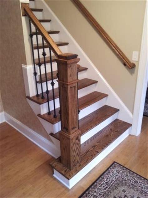 refinishing hardwood stairs monk 39 newel post bannister paint trim tile molding ideas
