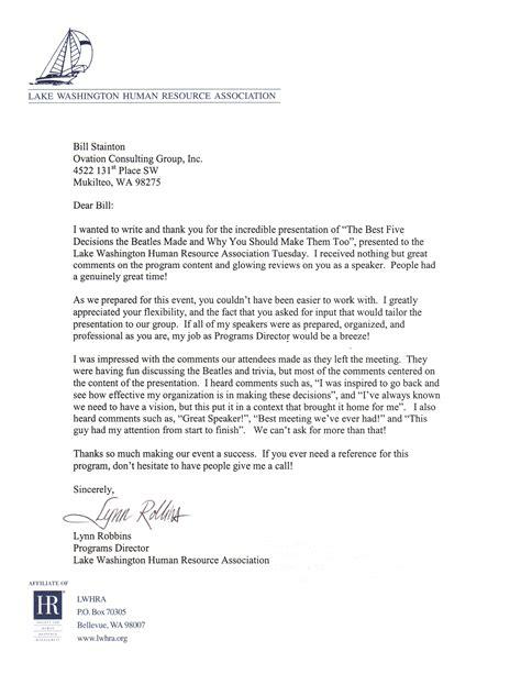 lk wa human resources testimonial letter  executive