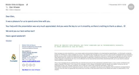 thank you email uk a personal thank your from real madrid fc writes about glen wheeler website designer
